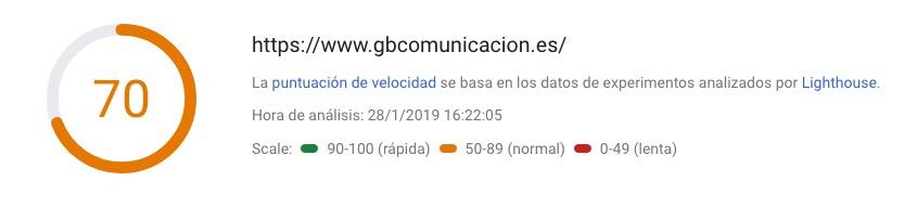 Page speed gb comunicacion