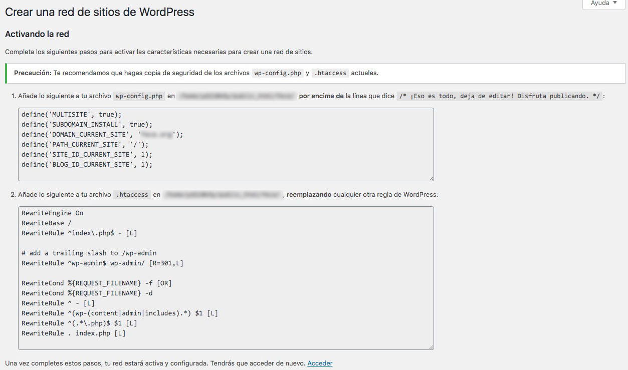 multisitio wordpress